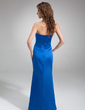 Sheath/Column Sweetheart Floor-Length Satin Bridesmaid Dress With Ruffle (007001881)