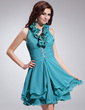A-Line/Princess Halter Short/Mini Chiffon Homecoming Dress With Ruffle Beading Sequins (022010099)