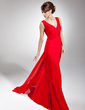 A-Line/Princess V-neck Watteau Train Chiffon Holiday Dress With Ruffle (008014685)