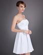 Yüksek Bel Kalp Kesimli Diz Hizası Taffeta Mezunlar Gecesi Elbisesi Ile Büzgü (022010098)