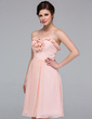 A-Line/Princess Sweetheart Knee-Length Chiffon Bridesmaid Dress With Flower(s) (007037277)