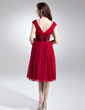 A-Line/Princess V-neck Knee-Length Chiffon Charmeuse Homecoming Dress With Ruffle Sash Bow(s) (022015735)
