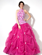 Ball-Gown Halter Floor-Length Organza Lace Quinceanera Dress With Ruffle (021003139)