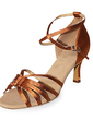 Women's Satin Heels Sandals Latin With Ankle Strap Dance Shoes (053013198)