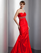 A-Line/Princess Sweetheart Floor-Length Taffeta Prom Dress With Ruffle Beading Sequins (018005378)