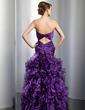Trumpet/Mermaid Sweetheart Floor-Length Organza Prom Dress With Beading Cascading Ruffles (018014782)