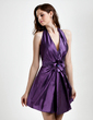 A-Line/Princess Halter Short/Mini Taffeta Bridesmaid Dress With Ruffle Flower(s) Sequins (022015808)