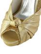 Women's Satin Sparkling Glitter Cone Heel Peep Toe Platform Sandals With Ruched (047029887)