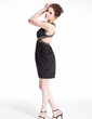 Sheath/Column V-neck Short/Mini Chiffon Cocktail Dress With Ruffle Beading (016008273)