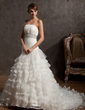 Ball-Gown Strapless Chapel Train Organza Wedding Dress With Beading Cascading Ruffles (002012734)