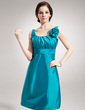 A-Line/Princess Scoop Neck Knee-Length Taffeta Bridesmaid Dress With Ruffle Flower(s) (007004305)