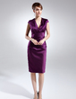 Sheath/Column V-neck Knee-Length Satin Mother of the Bride Dress With Ruffle (008015775)