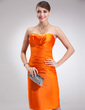 Sheath/Column Sweetheart Knee-Length Charmeuse Cocktail Dress With Ruffle (016021140)