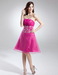 Empire Strapless Knee-Length Organza Homecoming Dress With Ruffle Beading Appliques Lace Sequins (022015732)