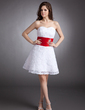 A-Line/Princess Sweetheart Short/Mini Lace Homecoming Dress With Ruffle Sash Beading (022020940)