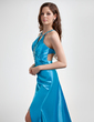 A-Line/Princess Halter Sweep Train Charmeuse Evening Dress With Ruffle Beading Split Front (017015767)