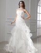 A-Line/Princess Strapless Court Train Satin Organza Wedding Dress With Beading Appliques Lace Cascading Ruffles (002015454)