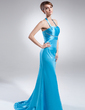 Sheath/Column Halter Sweep Train Charmeuse Evening Dress With Ruffle Beading (017015778)