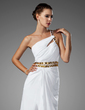 A-Line/Princess One-Shoulder Floor-Length Chiffon Prom Dress With Ruffle Beading Split Front (018002453)