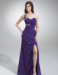 Sheath/Column One-Shoulder Floor-Length Chiffon Evening Dress With Ruffle Beading Split Front (017016252)
