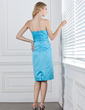 Sheath/Column Strapless Knee-Length Satin Bridesmaid Dress With Sash Bow(s) (007001797)