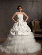 Ball-Gown Scalloped Neck Chapel Train Tulle Wedding Dress With Beading Flower(s) Bow(s) (002014861)