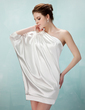 Sheath/Column One-Shoulder Short/Mini Charmeuse Cocktail Dress With Ruffle Beading (016021260)