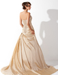 A-Line/Princess Halter Court Train Taffeta Wedding Dress With Ruffle Beading Appliques Lace Sequins (002013927)