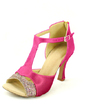 Women's Satin Heels Sandals Latin With T-Strap Dance Shoes (053057166)