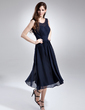 A-Line/Princess Scoop Neck Knee-Length Chiffon Bridesmaid Dress With Ruffle (007015677)