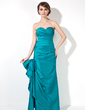 Trumpet/Mermaid Sweetheart Floor-Length Taffeta Bridesmaid Dress With Ruffle Bow(s) (007001860)