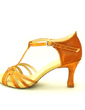 Women's Satin Heels Sandals Latin With T-Strap Dance Shoes (053016447)