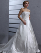 A-Line/Princess Strapless Chapel Train Satin Wedding Dress With Ruffle Lace Beading (002012871)