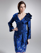 Sheath/Column V-neck Knee-Length Taffeta Mother of the Bride Dress With Ruffle Appliques Lace Sequins (008006298)