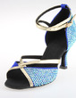 Women's Satin Sandals Pumps Latin Ballroom Salsa With Rhinestone Ankle Strap Buckle Dance Shoes (053026922)