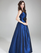 A-Line/Princess Strapless Floor-Length Taffeta Bridesmaid Dress With Ruffle Flower(s) (007004312)