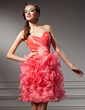 A-Line/Princess Sweetheart Knee-Length Organza Homecoming Dress With Cascading Ruffles (022010592)