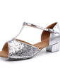 Women's Sparkling Glitter Sandals Ballroom With T-Strap Dance Shoes (053008116)