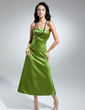 A-Line/Princess Strapless Tea-Length Satin Bridesmaid Dress With Bow(s) (007014845)