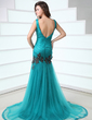 Trumpet/Mermaid V-neck Court Train Tulle Prom Dress With Ruffle Appliques Lace (018017355)