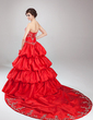 Ball-Gown Strapless Cathedral Train Taffeta Quinceanera Dress With Embroidered Ruffle Beading (021003129)