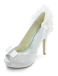 Women's Satin Stiletto Heel Peep Toe Platform Pumps Sandals With Bowknot Imitation Pearl Ruffles (047017774)