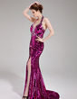 Trumpet/Mermaid Halter Sweep Train Sequined Prom Dress With Beading Split Front (018019684)