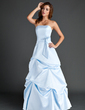 A-Line/Princess Strapless Floor-Length Satin Bridesmaid Dress With Ruffle (007004007)