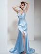 Trumpet/Mermaid V-neck Sweep Train Charmeuse Evening Dress With Ruffle Beading Split Front (017017419)