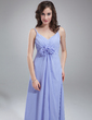 Empire V-neck Floor-Length Chiffon Bridesmaid Dress With Ruffle Flower(s) (007018788)