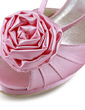 Women's Satin Cone Heel Platform Sandals Slingbacks With Satin Flower (047020149)