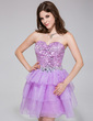 A-Line/Princess Sweetheart Short/Mini Organza Sequined Homecoming Dress With Beading Cascading Ruffles (022027051)