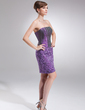 Sheath/Column Strapless Knee-Length Taffeta Lace Mother of the Bride Dress With Bow(s) (008006245)