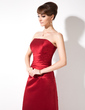A-Line/Princess Strapless Floor-Length Satin Bridesmaid Dress With Ruffle (007001865)